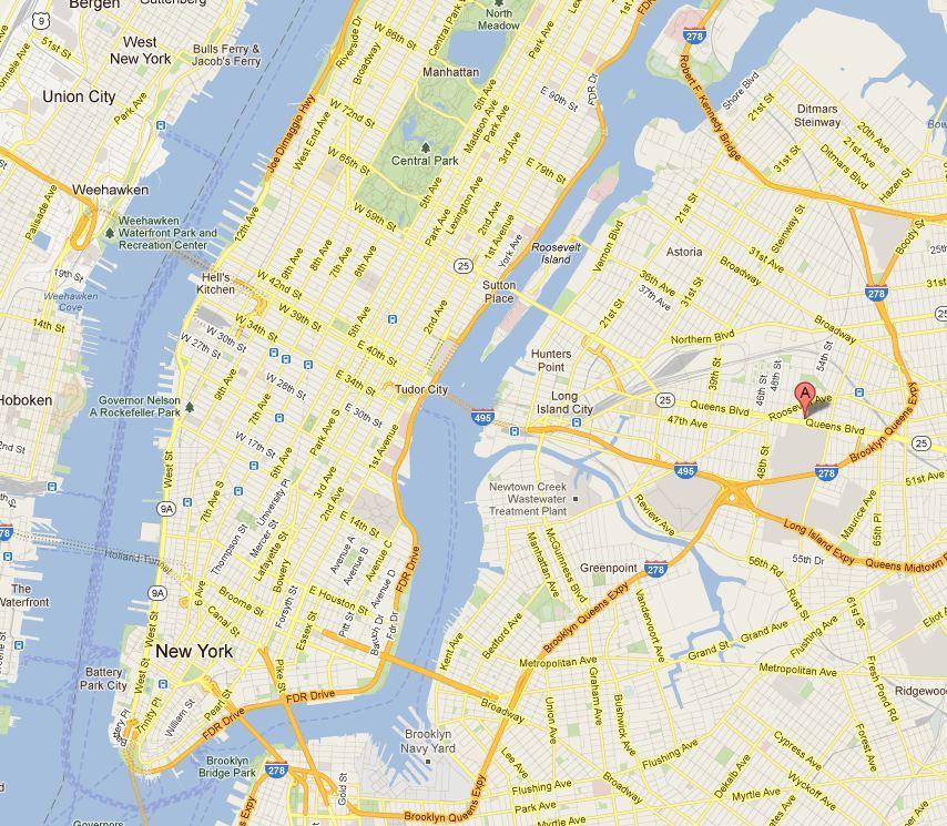 Plan Google de New York emplacement hôtel